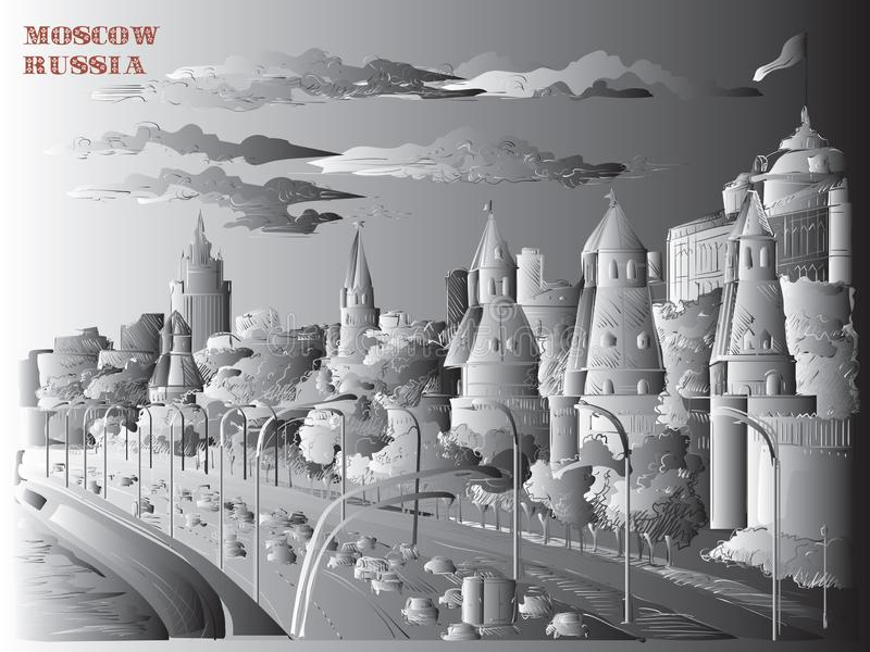 Le paysage urbain du remblai de la place rouge de tours de Kremlin et de rivière de Moscou, Moscou, Russie a isolé l'illustration illustration de vecteur