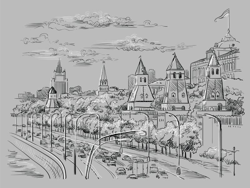Le paysage urbain du remblai de la place rouge de tours de Kremlin et de rivière de Moscou, Moscou, Russie a isolé l'illustration illustration libre de droits