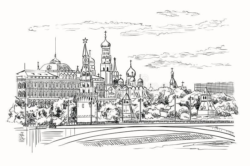 Le paysage urbain du remblai des tours et du pont de Kremlin à travers la place rouge de rivière de Moscou, Moscou, Russie a isol illustration de vecteur