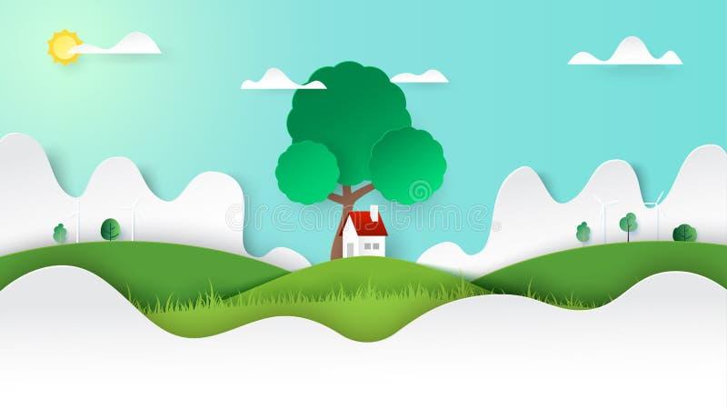 Le paysage vert de nature et un peu de cottage sur Mountain View le style d'art de papier de calibre de fond illustration stock