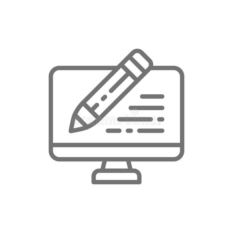 Le PC avec le stylo, écrivent l'examen, ordinateur portable d'email, causerie, ligne de message icône illustration libre de droits