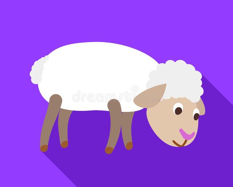 Le pecore cercano l'icona dell'alimento, stile piano illustrazione vettoriale