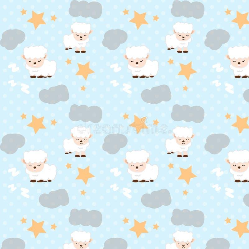 Le pecore che dormono con le stelle spargono e si appannano il buon modello di sogno illustrazione di stock