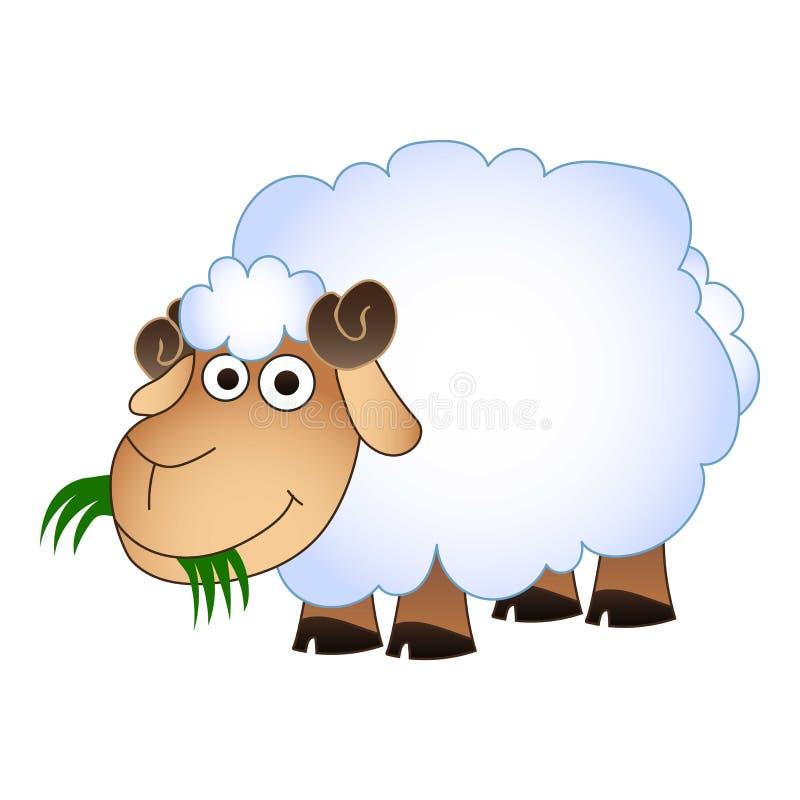 Le pecore mangiano l'icona dell'erba verde, stile del fumetto illustrazione di stock