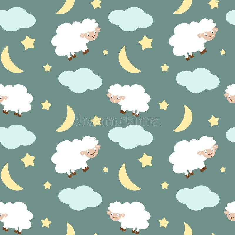 Le pecore sveglie nel cielo notturno con le stelle moon e l'illustrazione senza cuciture del fondo del modello delle nuvole illustrazione vettoriale