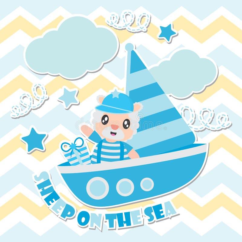 Le pecore sveglie sull'illustrazione del fumetto del mare per il fondo della maglietta del bambino progettano illustrazione vettoriale