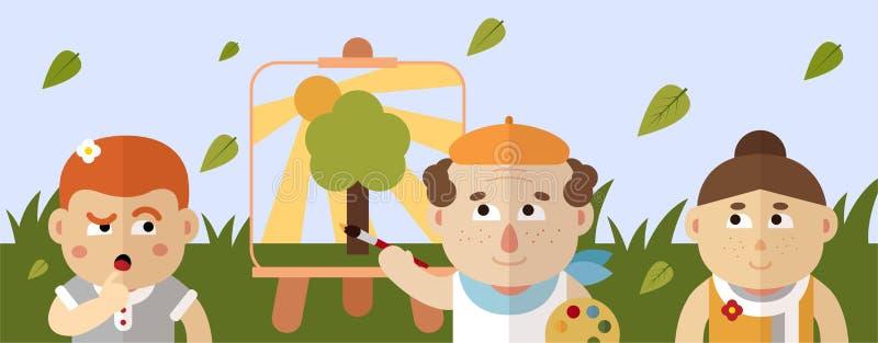 Le peintre dessine un paysage d'été avec des lumières d'un soleil, d'une herbe et d'un arbre illustration de vecteur