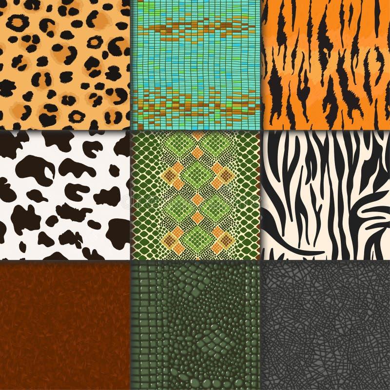 Le pelli animali vector il contesto strutturato scarno animale senza cuciture del modello dell'illustrazione naturale di spellatu illustrazione vettoriale