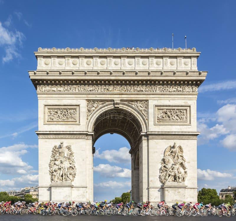 Le Peloton à Paris - Tour de France 2016 image libre de droits