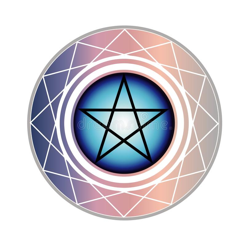Le pentagone étoilé un symbole religieux dans des couleurs en pastel douces illustration stock