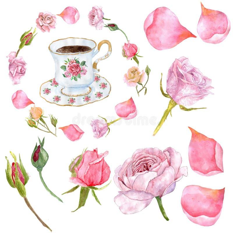 Le peonie dell'acquerello fioriscono i mazzi ed i corni floreali dei cervi royalty illustrazione gratis