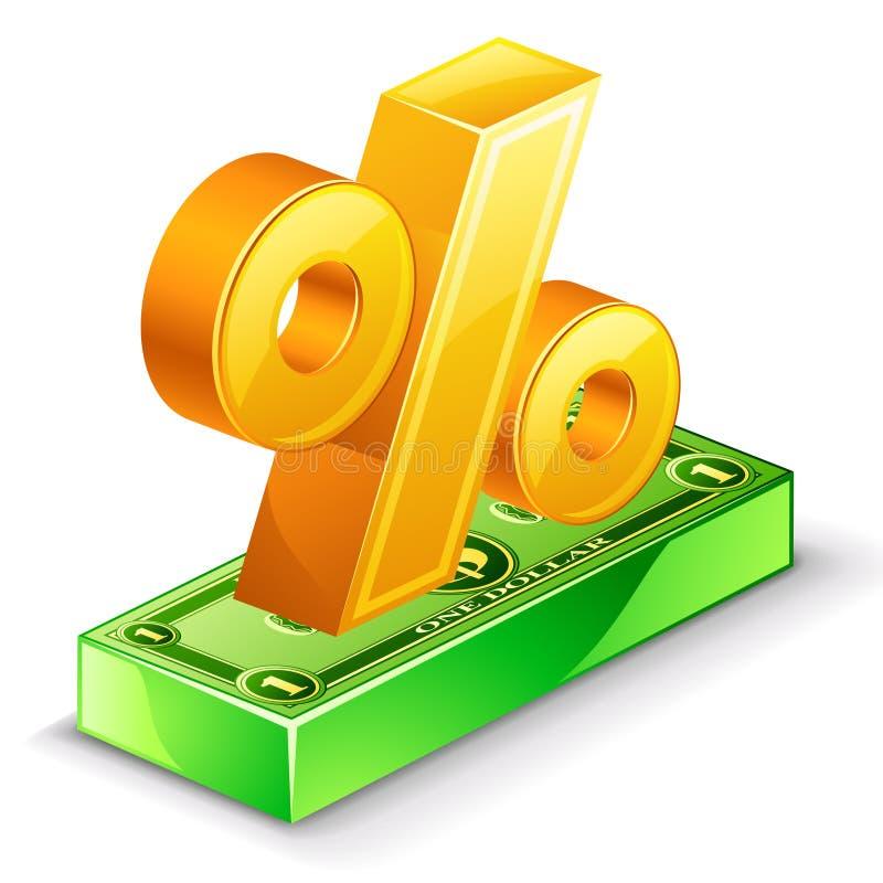 Le percentuali cantano ed il pacchetto del dollaro illustrazione di stock
