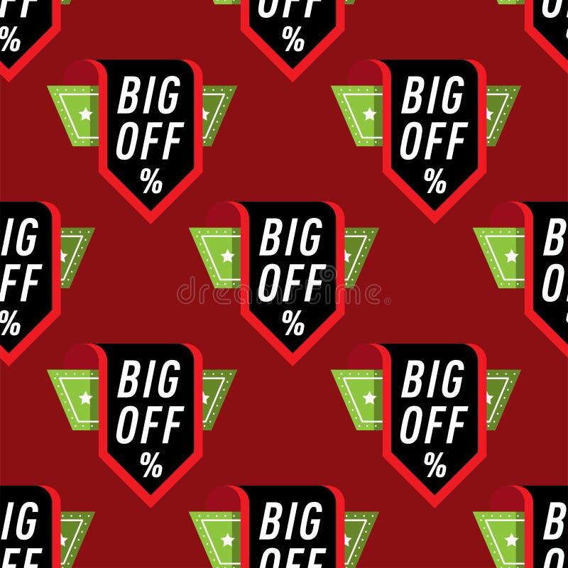 Le percentuali degli autoadesivi del distintivo di vendita scontano l'illustrazione nera di compera di vettore di simboli di vene illustrazione di stock