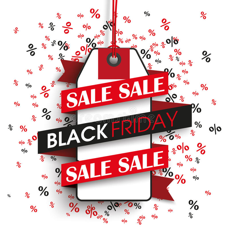 Le percentuali del nastro dell'autoadesivo di prezzi di Black Friday illustrazione vettoriale
