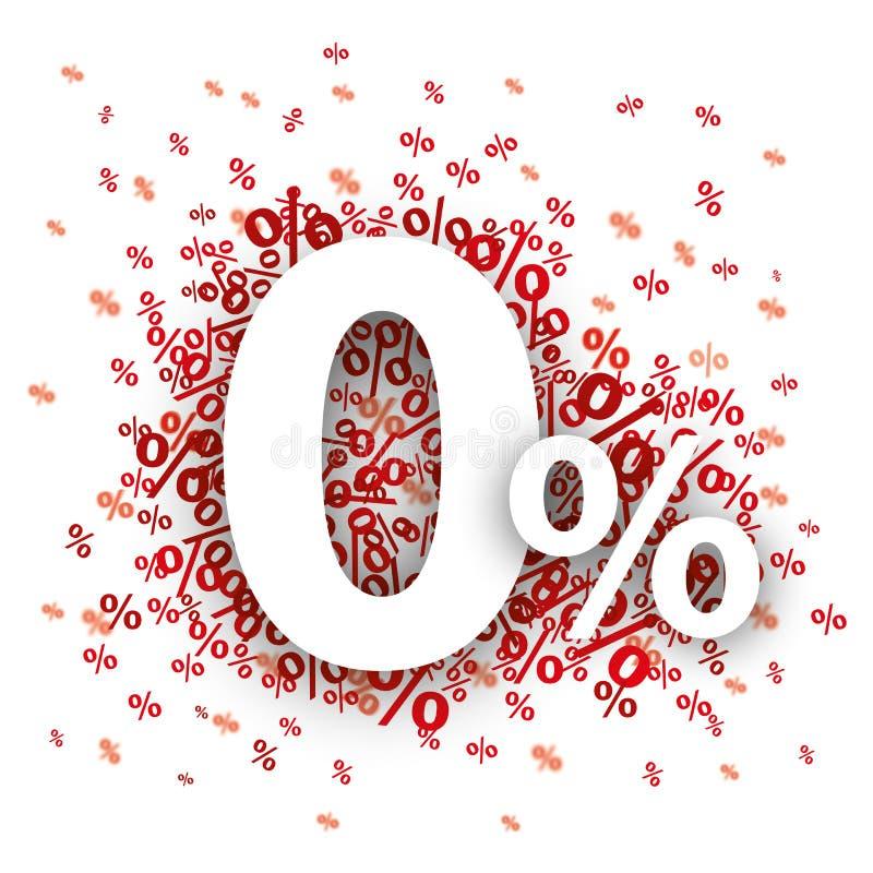 Le percentuali di 0 rossi illustrazione di stock