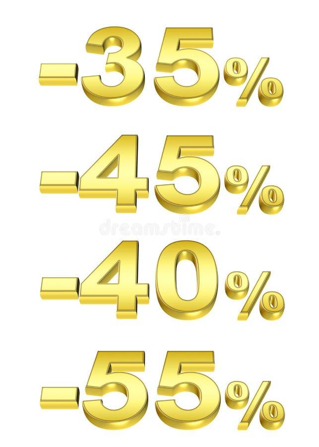 Le percentuali dorate illustrazione vettoriale