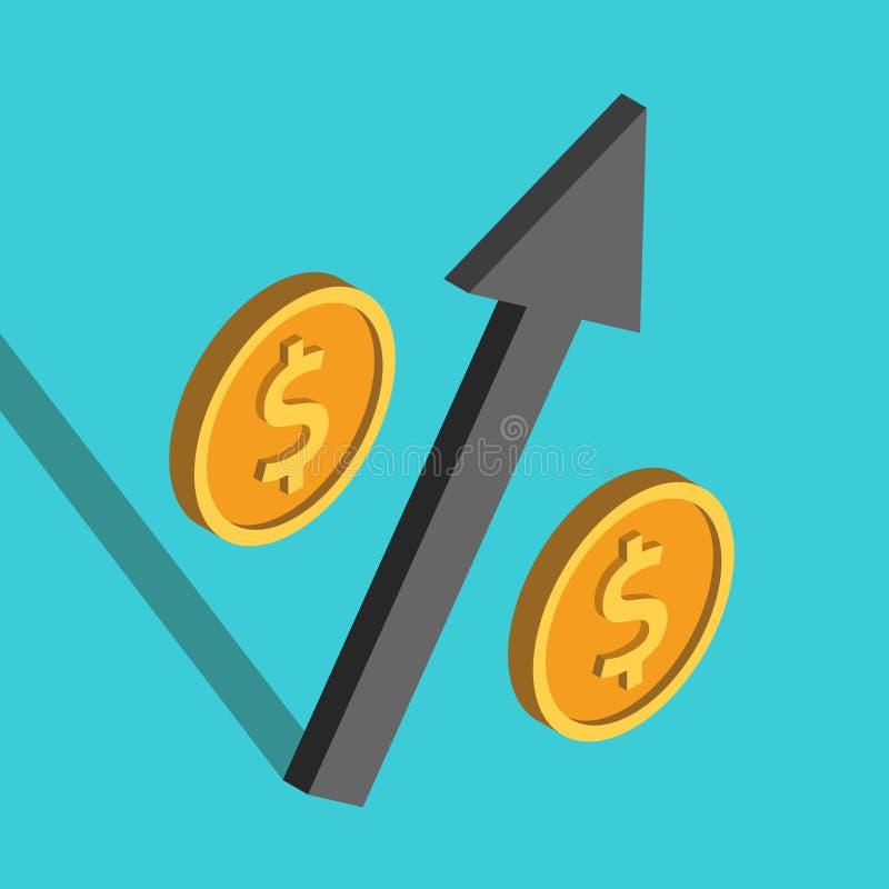 Le percentuali isometriche della freccia del dollaro illustrazione di stock