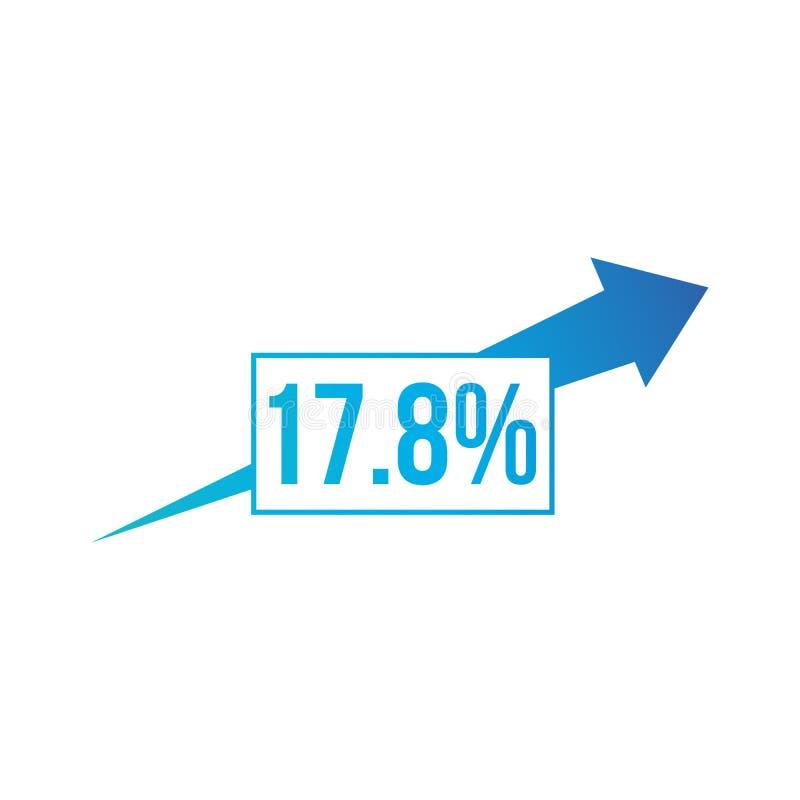 Le percentuali sull'icona della freccia Percentuale, freccia, crescita Concetto di attività bancarie Può essere usato per gli arg illustrazione di stock
