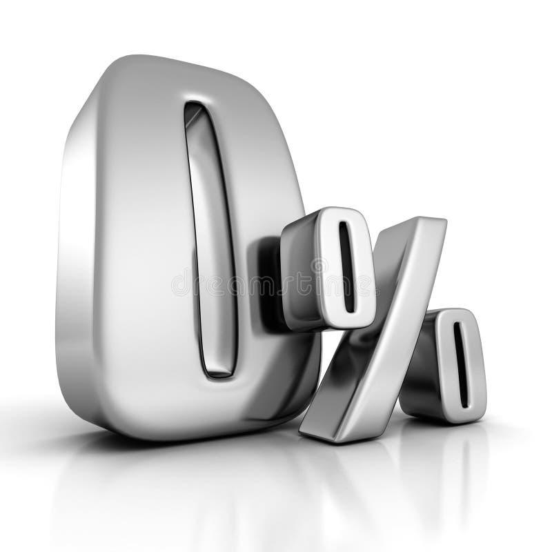 Le percentuali zero scontano il simbolo metallico su fondo bianco illustrazione di stock
