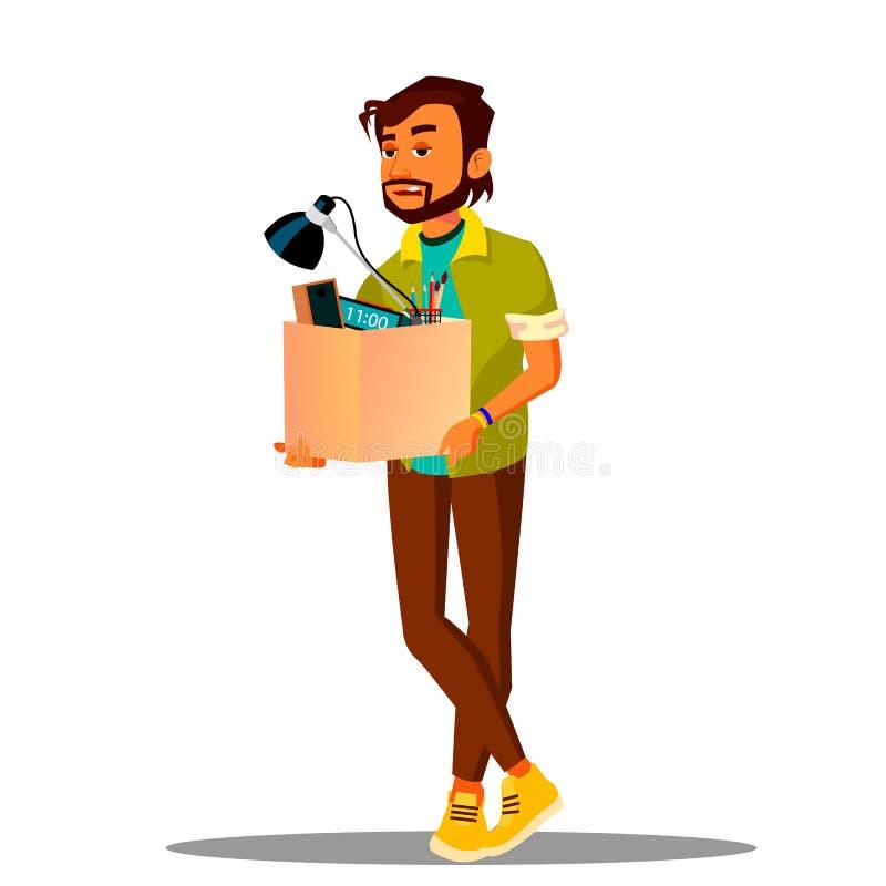 Le perdant frustrant d'affaires quitte le bureau avec une boîte de son vecteur d'affaires Illustration d'isolement illustration de vecteur