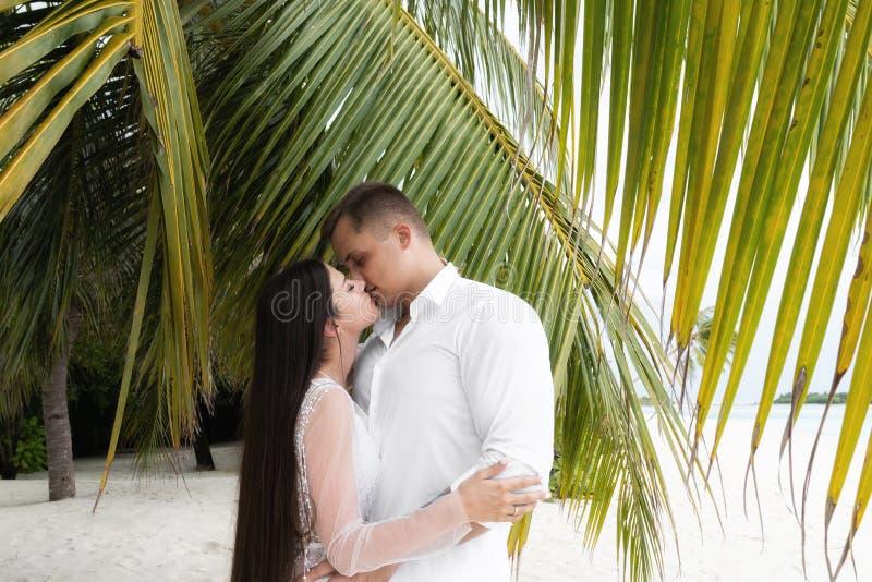 Le persone appena sposate baciano in foglie di palma su una spiaggia bianca fotografia stock