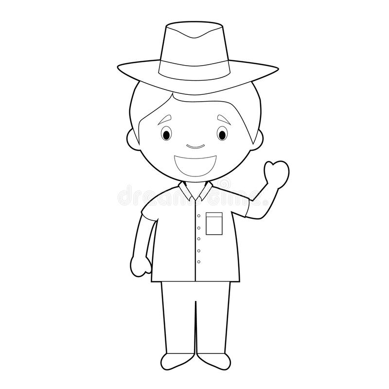 Le personnage de dessin animé de coloration facile du Cuba s'est habillé de la manière traditionnelle avec un chapeau de Panama I illustration libre de droits