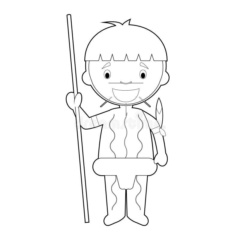 Le personnage de dessin animé de coloration facile du Venezuela s'est habillé de la manière traditionnelle comme tribu indigène d illustration stock