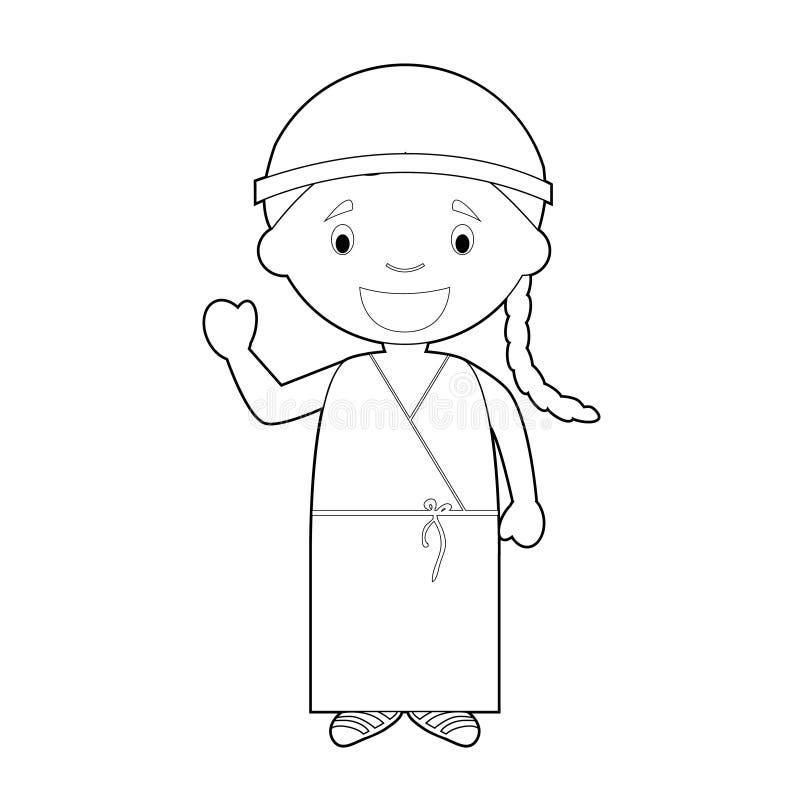 Le personnage de dessin animé de coloration facile de Grèce s'est habillé de la manière traditionnelle des âges classiques Illust illustration de vecteur