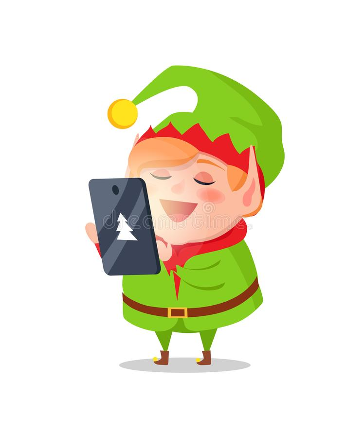 Le personnage de dessin animé d'Elf prend des ordres sur la Tablette de cadeaux illustration stock