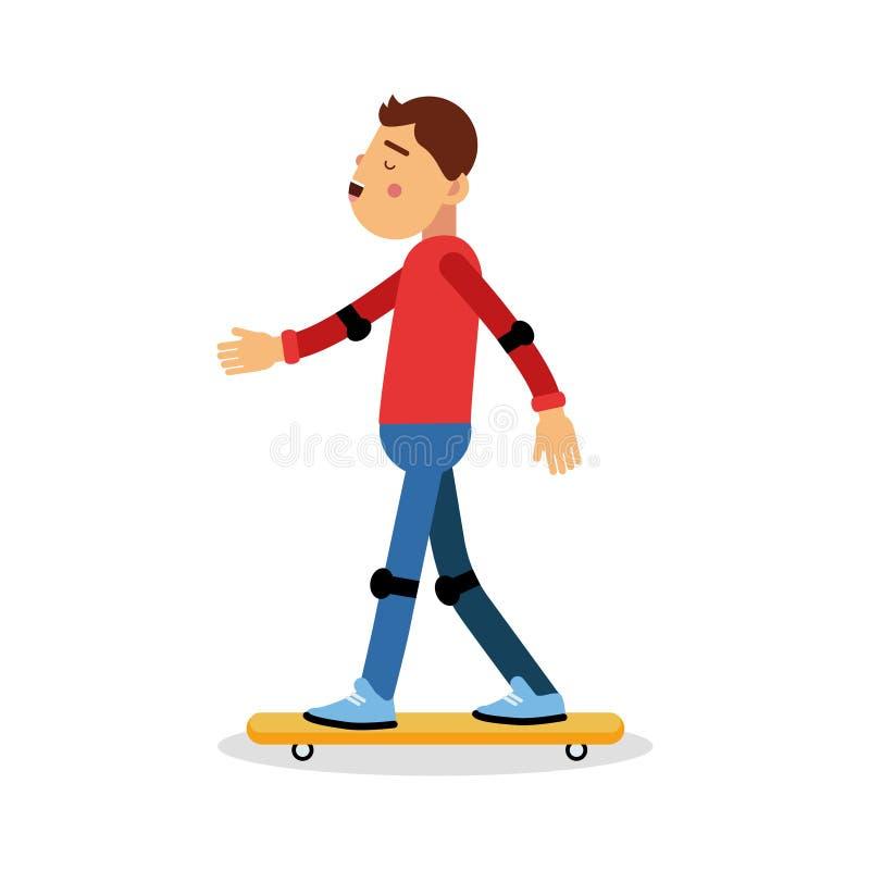 Le personnage de dessin animé faisant de la planche à roulettes de jeune garçon, activités physiques d'enfants dirigent l'illustr illustration de vecteur