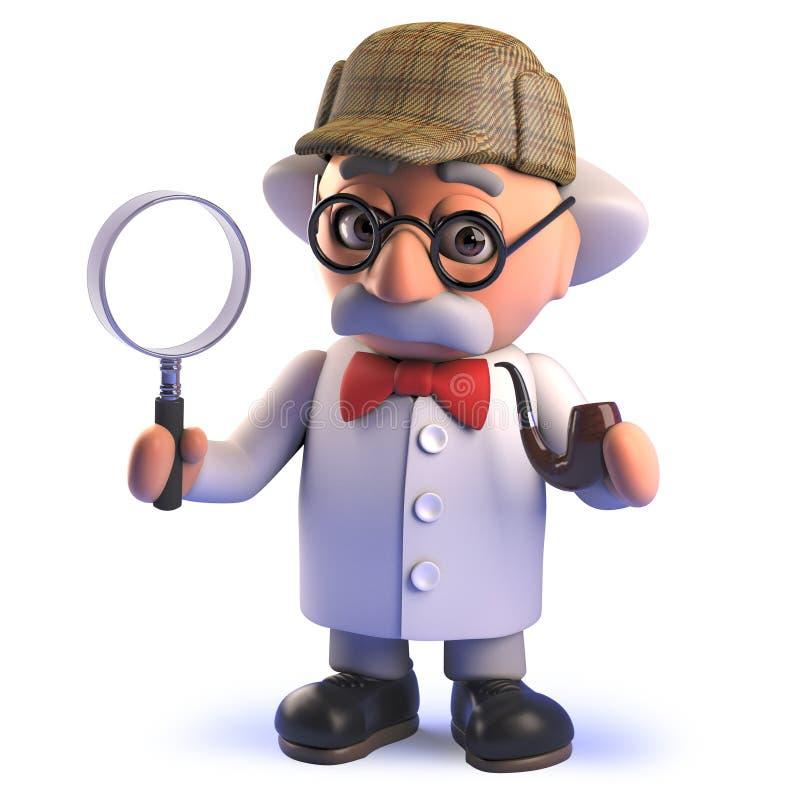 Le personnage de dessin animé fou fou de scientifique dans 3d s'est habillé comme Sherlock Holmes tenant une loupe illustration libre de droits