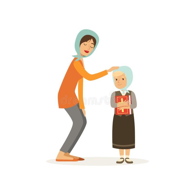 Le personnage de dessin animé de la femme chrétienne et de sa fille s'est habillé dans les foulards Mère et enfant Fille tenant l illustration de vecteur