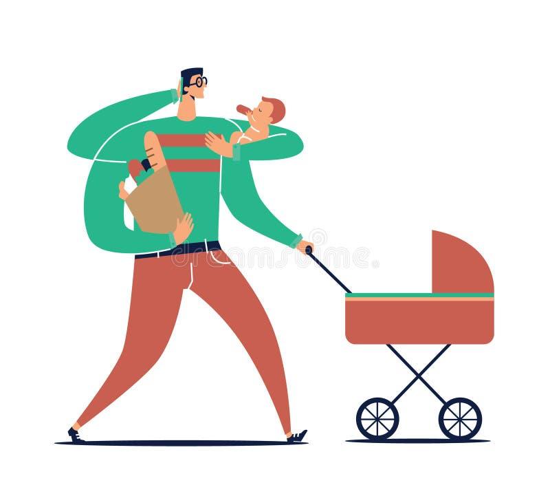 Le personnage de dessin animé masculin avec beaucoup de mains porte l'enfant, la poussette, le sac avec des achats et les entreti illustration stock