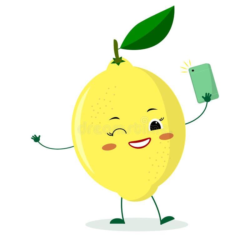 Le personnage de dessin animé mignon de citron avec un smartphone et fait le selfie illustration de vecteur