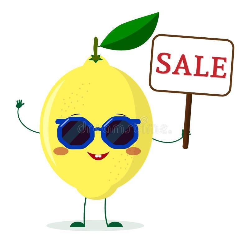 Le personnage de dessin animé mignon de citron dans des lunettes de soleil garde un signe de vente illustration de vecteur
