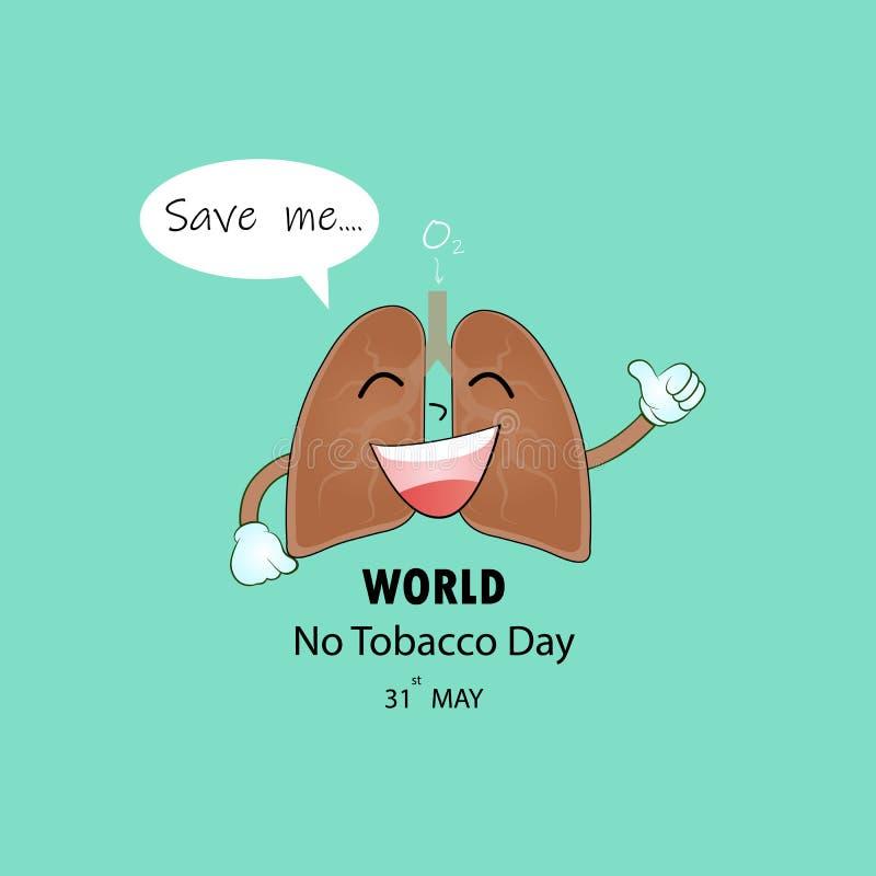 Le personnage de dessin animé de poumon logo de tabagisme et du vecteur mignons d'arrêt conçoivent illustration de vecteur