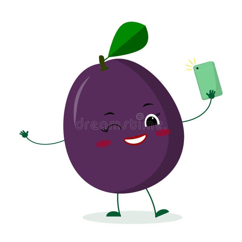 Le personnage de dessin animé pourpre mignon de fruit de prune de Kawaii avec un smartphone et fait selfie Logo, calibre, concept illustration stock