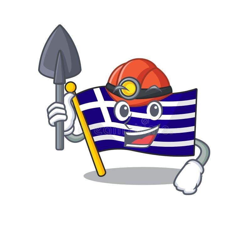 Le personnage de grèce du drapeau miner a façonné le dessin illustration de vecteur