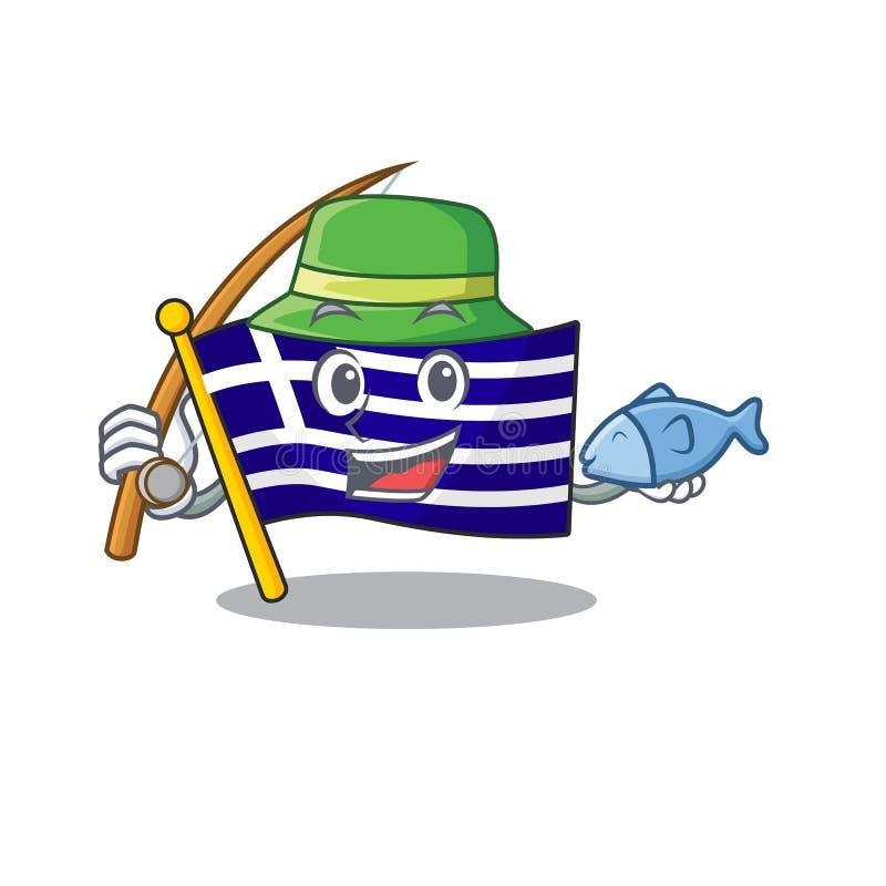 Le personnage de grèce du drapeau de pêche a façonné le dessin illustration stock