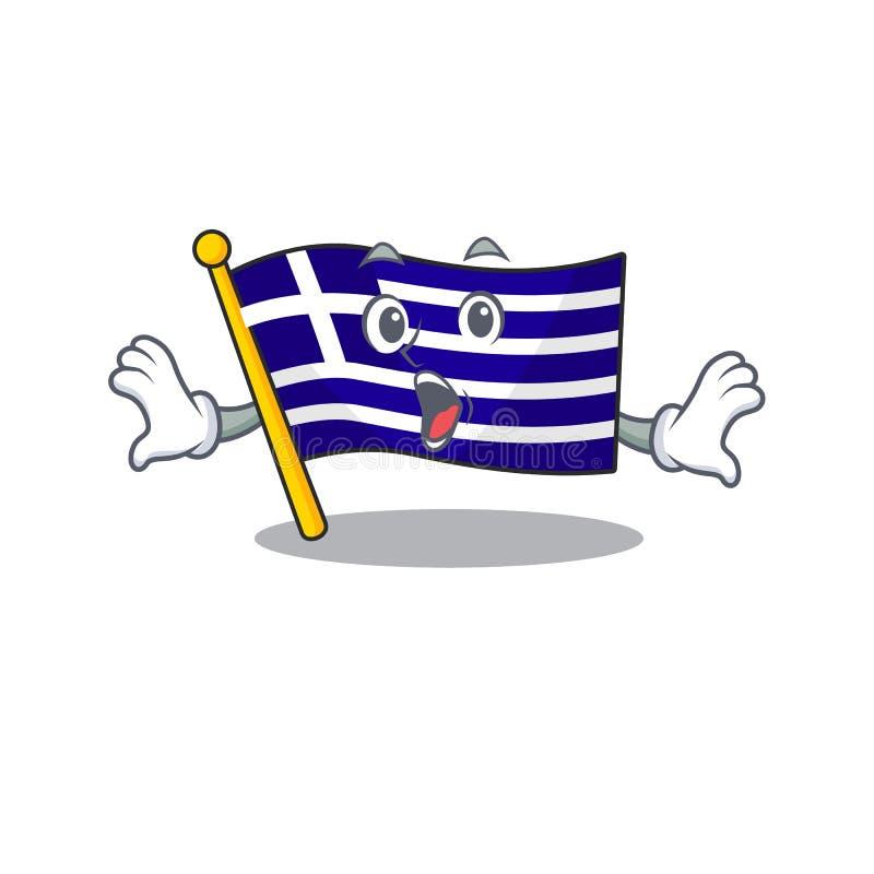 Le personnage de grèce surpris du drapeau a façonné le dessin illustration libre de droits