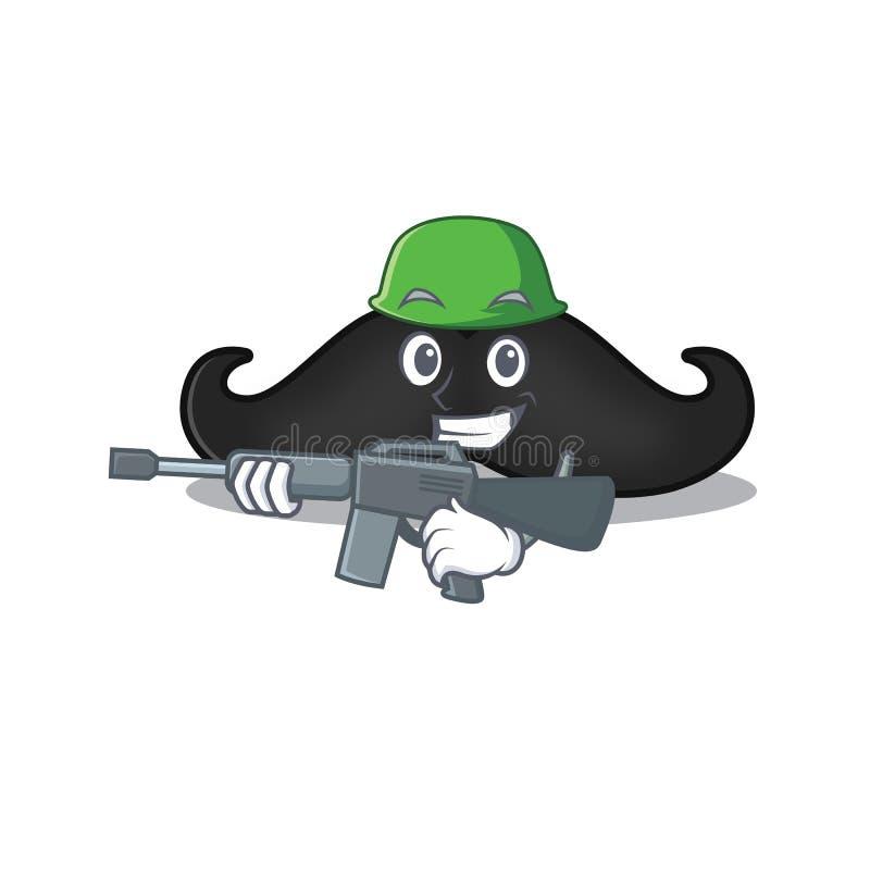 Le personnage de Mustache sur une armée stylisée illustration de vecteur