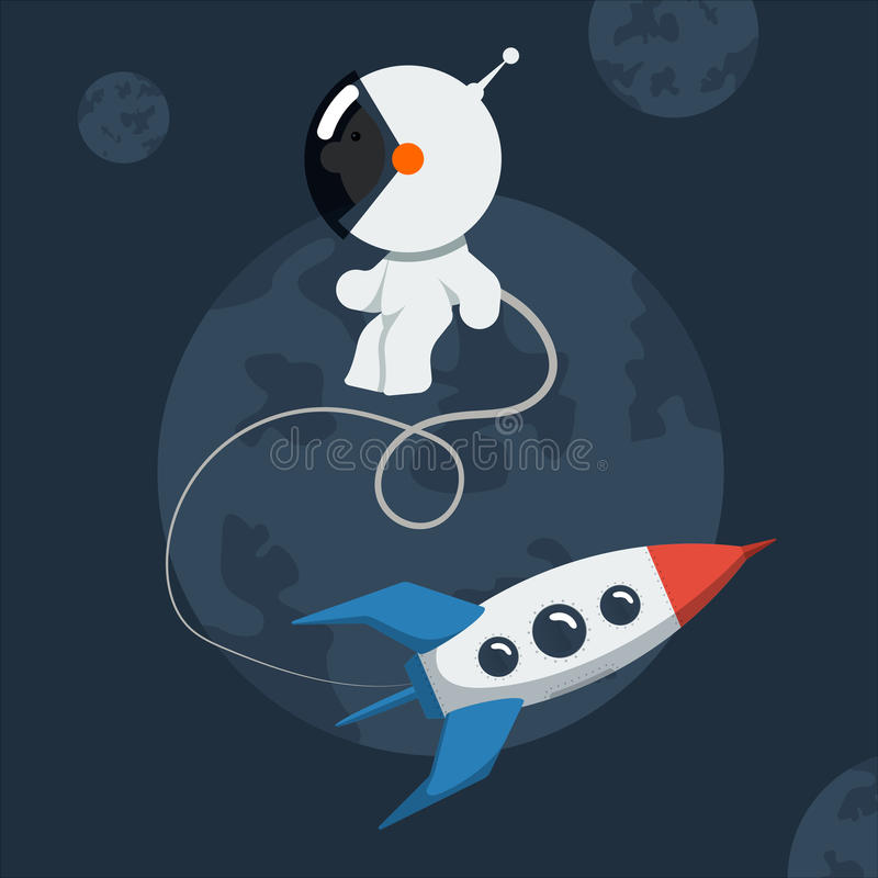 Le petit astronaute drôle a flotté dans l'espace avec la fusée illustration stock