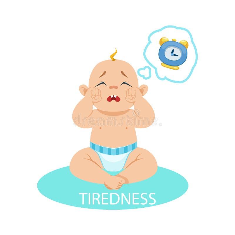 Le petit bébé garçon dans la couche a fatigué et veut dormir, une partie de raisons du nourrisson étant bande dessinée malheureus illustration libre de droits