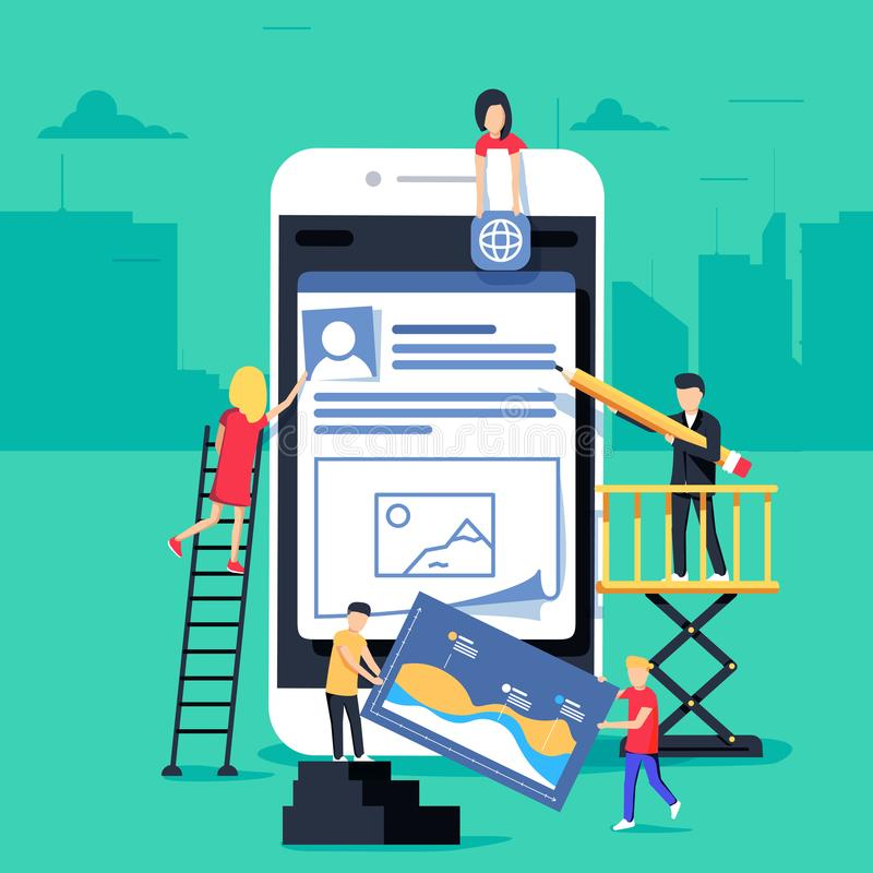 Le petit caractère de personnes a décoré la technologie mobile conception plate d'illustration de concept de vecteur illustration de vecteur