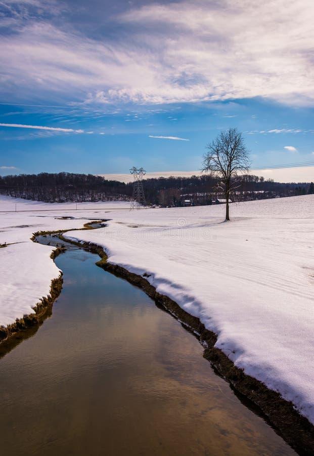 Le petit courant par une neige a couvert le champ de ferme dans Carroll rural photo stock