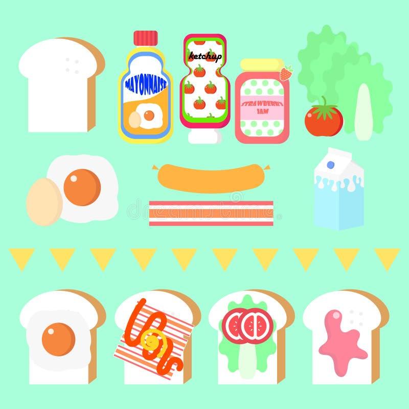 Le petit déjeuner a placé avec du pain, l'oeuf, le lait, et le légume illustration stock