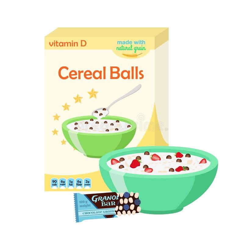 Le petit déjeuner a placé - le lait, céréale, granola, baies Nourriture saine dedans illustration stock