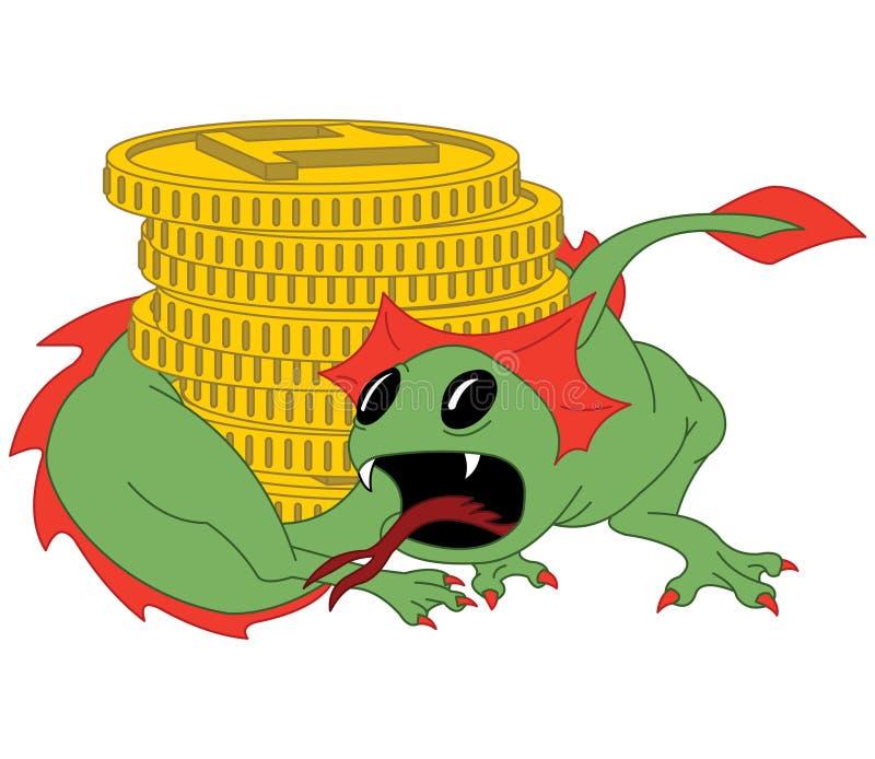 Le petit dragon vert garde les pièces d'or illustration libre de droits