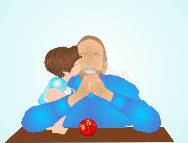 Le petit du papa, dans des ses bras?. illustration de vecteur