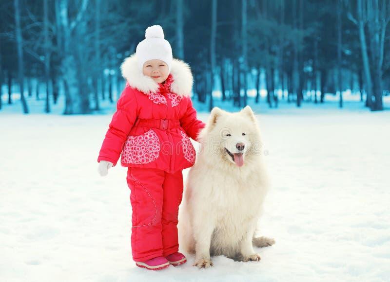 Le petit enfant et le Samoyed blanc poursuivent la marche en hiver photographie stock libre de droits